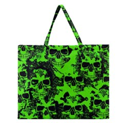 Cloudy Skulls Black Green Zipper Large Tote Bag by MoreColorsinLife