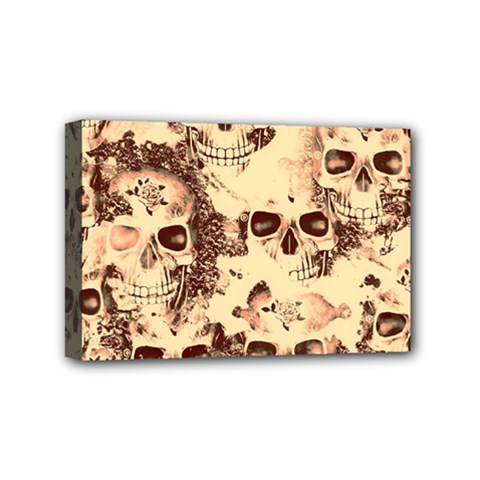 Cloudy Skulls Beige Mini Canvas 6  X 4  by MoreColorsinLife