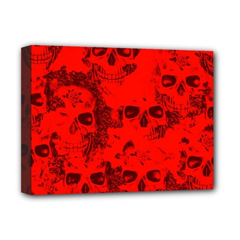 Cloudy Skulls Red Deluxe Canvas 16  X 12   by MoreColorsinLife