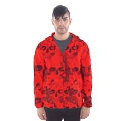 Cloudy Skulls Red Hooded Wind Breaker (men) by MoreColorsinLife