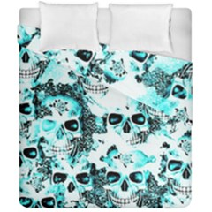 Cloudy Skulls White Aqua Duvet Cover Double Side (california King Size) by MoreColorsinLife