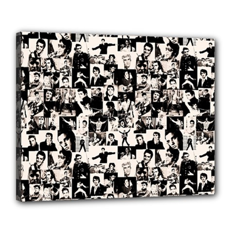 Elvis Presley Pattern Canvas 20  X 16  by Valentinaart