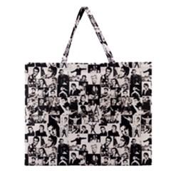 Elvis Presley Pattern Zipper Large Tote Bag by Valentinaart