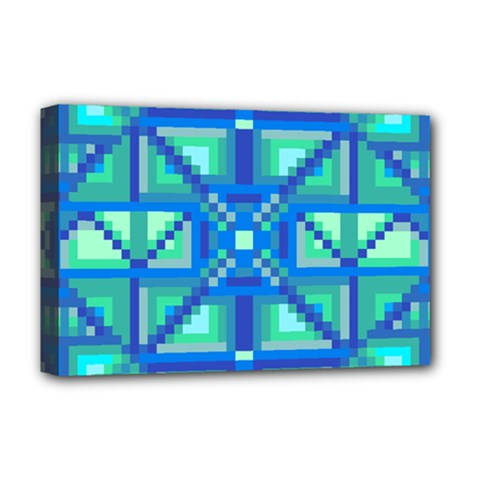 Grid Geometric Pattern Colorful Deluxe Canvas 18  X 12   by Nexatart
