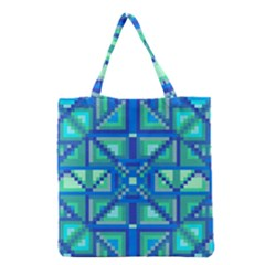 Grid Geometric Pattern Colorful Grocery Tote Bag by Nexatart