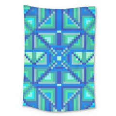 Grid Geometric Pattern Colorful Large Tapestry by Nexatart