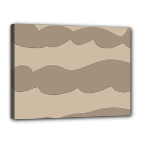 Pattern Wave Beige Brown Canvas 16  X 12  by Nexatart