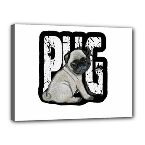 Pug Canvas 16  X 12  by Valentinaart