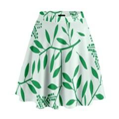 Leaves Foliage Green Wallpaper High Waist Skirt by Nexatart