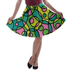 Circle Background Background Texture A Line Skater Skirt by Nexatart