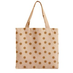 Pattern Gingerbread Star Zipper Grocery Tote Bag by Nexatart