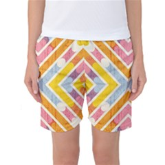 Line Pattern Cross Print Repeat Women s Basketball Shorts
