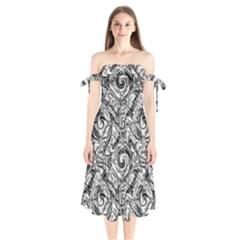 Gray Scale Pattern Tile Design Shoulder Tie Bardot Midi Dress