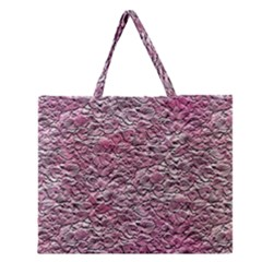 Leaves Pink Background Texture Zipper Large Tote Bag by Nexatart
