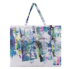 Background Color Circle Pattern Zipper Large Tote Bag by Nexatart