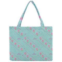Flower Pink Love Background Texture Mini Tote Bag by Nexatart