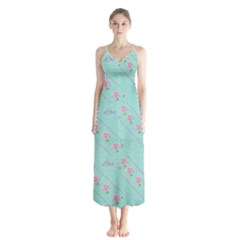 Flower Pink Love Background Texture Chiffon Maxi Dress