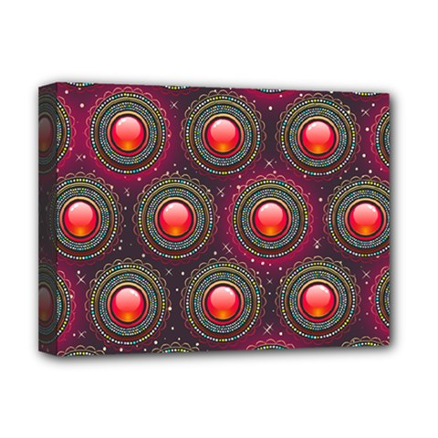 Abstract Circle Gem Pattern Deluxe Canvas 16  X 12   by Nexatart