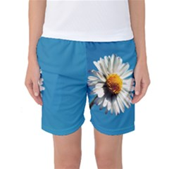Daisy On Blue Women s Basketball Shorts by TailWags
