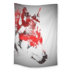 Red Black Wolf Stamp Background Large Tapestry by Nexatart