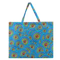 Digital Art Circle About Colorful Zipper Large Tote Bag by Nexatart