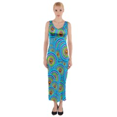 Digital Art Circle About Colorful Fitted Maxi Dress
