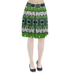 Fractal Art Green Pattern Design Pleated Skirt by Nexatart