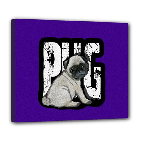 Pug Deluxe Canvas 24  X 20   by Valentinaart