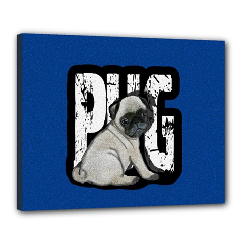 Pug Canvas 20  X 16  by Valentinaart