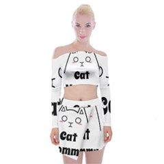 Love My Cat Mommy Off Shoulder Top With Skirt Set by Catifornia