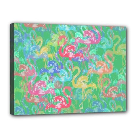 Flamingo Pattern Canvas 16  X 12  by Valentinaart