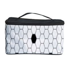 Black White Hexagon Dots Cosmetic Storage Case by Mariart