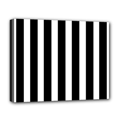 Black White Line Vertical Deluxe Canvas 20  X 16   by Mariart