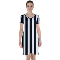 Black White Line Vertical Short Sleeve Nightdress by Mariart