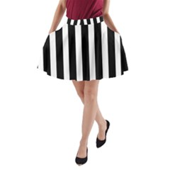 Black White Line Vertical A Line Pocket Skirt by Mariart