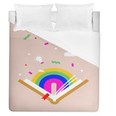 Books Rainboe Lamp Star Pink Duvet Cover (queen Size) by Mariart