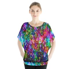 Colorful Bubble Shining Soap Rainbow Blouse by Mariart