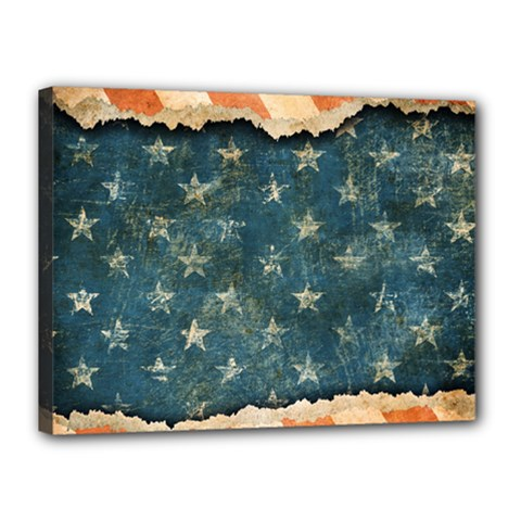 Grunge Ripped Paper Usa Flag Canvas 16  X 12  by Mariart