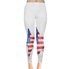 Multiple Us Flag Stars Line Slide Leggings  by Mariart