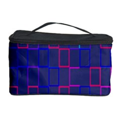 Grid Lines Square Pink Cyan Purple Blue Squares Lines Plaid Cosmetic Storage Case by Mariart
