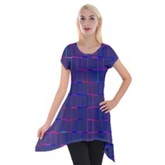 Grid Lines Square Pink Cyan Purple Blue Squares Lines Plaid Short Sleeve Side Drop Tunic by Mariart