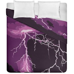 Lightning Pink Sky Rain Purple Light Duvet Cover Double Side (california King Size) by Mariart