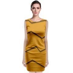 Orange Shades Wave Chevron Line Sleeveless Velvet Midi Dress by Mariart