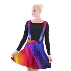 Multicolor Light Beam Line Rainbow Red Blue Orange Gold Purple Pink Suspender Skater Skirt by Mariart