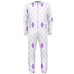 Purple White Hexagon Dots OnePiece Jumpsuit (Men)  by Mariart