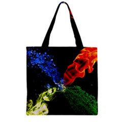 Perfect Amoled Screens Fire Water Leaf Sun Zipper Grocery Tote Bag by Mariart