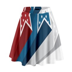Star Red Blue White Line Space High Waist Skirt by Mariart