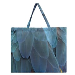 Feather Plumage Blue Parrot Zipper Large Tote Bag by Nexatart