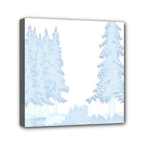 Winter Snow Trees Forest Mini Canvas 6  X 6