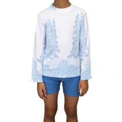 Winter Snow Trees Forest Kids  Long Sleeve Swimwear